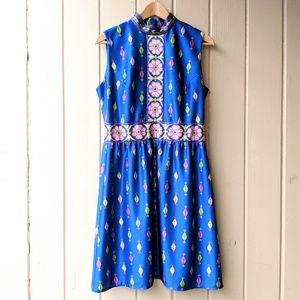 Vintage 1960s Mock Neck Vibrant Dress M